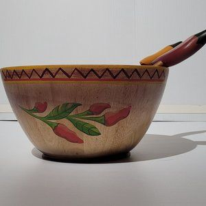 Clay Art Wooden Bowl with Pork Spoon Chili Pepper